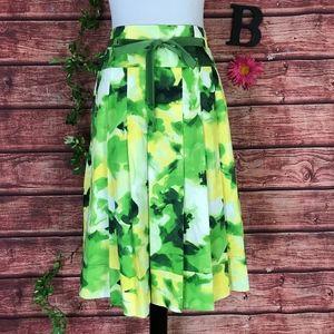 Jones New York Skirt 10 Green Yellow Floral Pleats